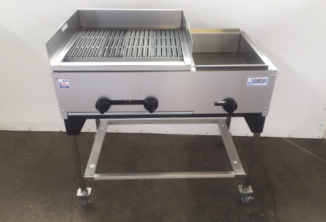 "36"" Catering Cart with boiler & steamer with customer splash guard"