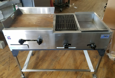 "48"" Catering Cart with cabinet, griddle and steamer"