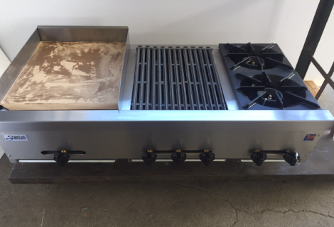 "48"" wide combo with 18"" griddle, 18"" broiler and hot plate"